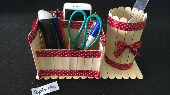 How to make pen box with ice cream sticks | DIY Pen stand and Mobile phone holder