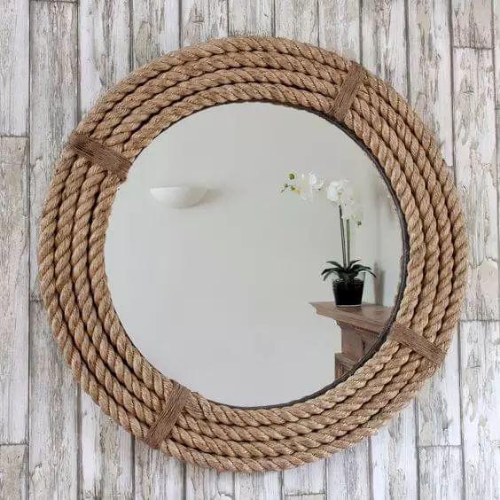 Make your own mirror frame from ship damming - DIY wall decoration  #damming #decoration #dekowohnung #frame #mirror #interiordesign