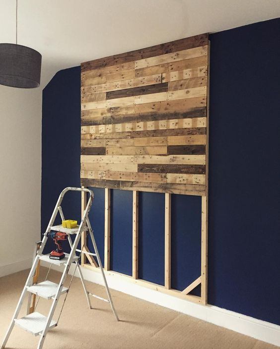 Headboard made from wooden pallets