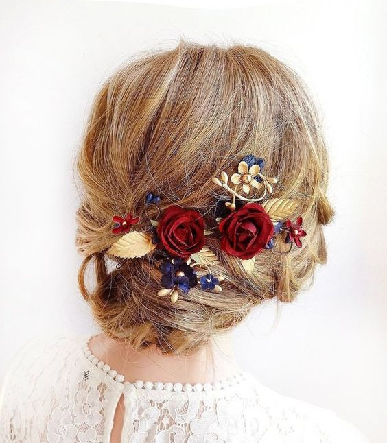 burgundy and navy hair piece, navy wedding hair accessories, burgundy and gold wedding hair clips, n