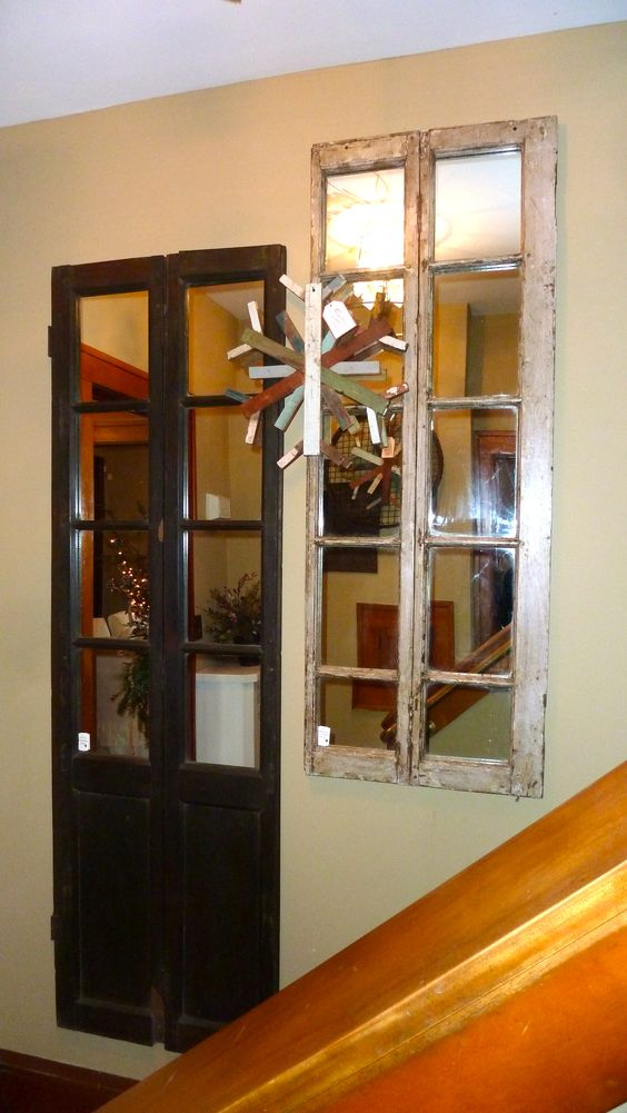 Re-purposed doors turned into mirrors.