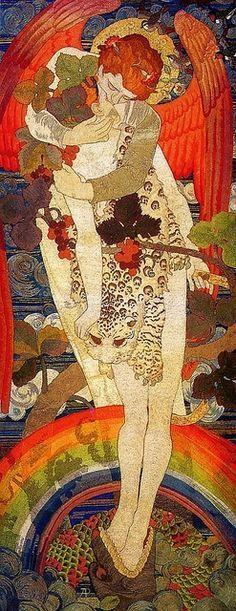 Damisela entre animales.   Gustav Klimt fue un pintor simbolista austríaco, y uno de los más conspicuos representantes del movimiento modernista de la secesión vienesa. #Klimt