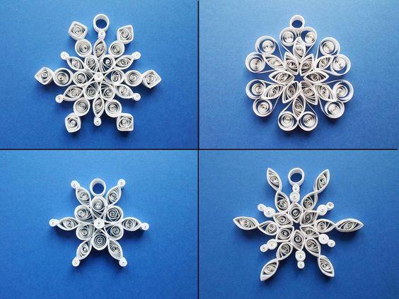 Set di 4 fiocchi di neve natalizi di carta di LindaRose Design su DaWanda.com