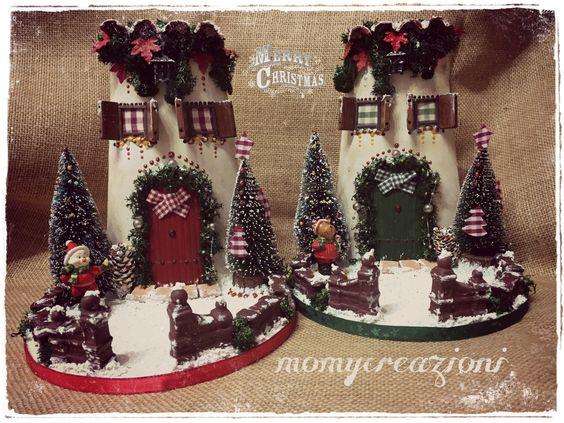 tegole natalizie su base tonda in legno