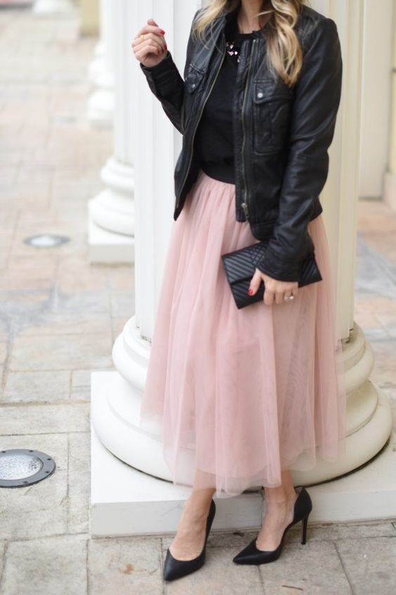 Party Outfit- black tee with pink tulle skirt, 30 Cute Winter Outfits