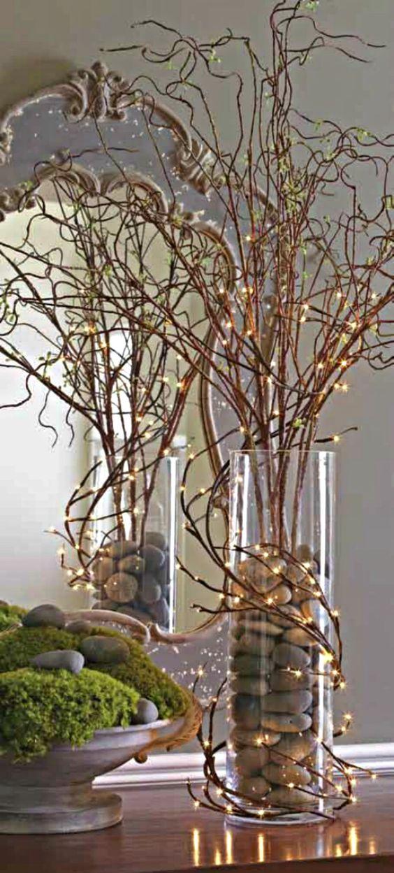 Twigs, lights and rocks arrangement.