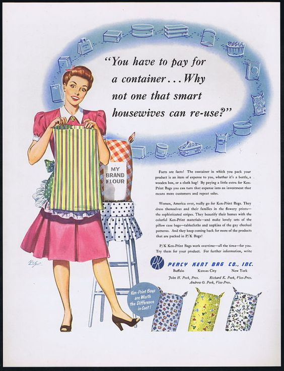 1948 Percy Kent Bag Co vintage Ad turning feed / flour sacks in dresses and aprons (great post-war upcycling!)