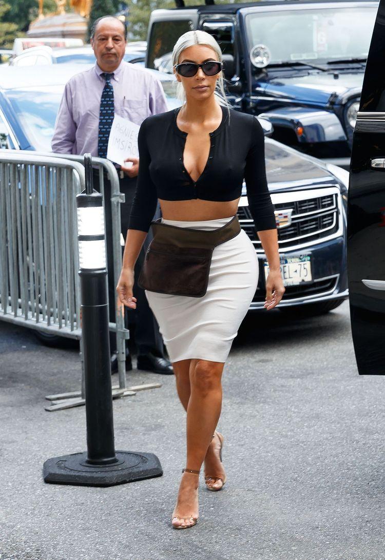 7cd4a35361f Kim Kardashian Rocks a Gucci Pantsuit Without a Top in L.A.