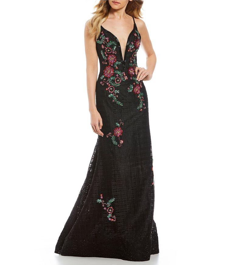 d52cef077d GB Social Basketweave Floral Gown  Dillards