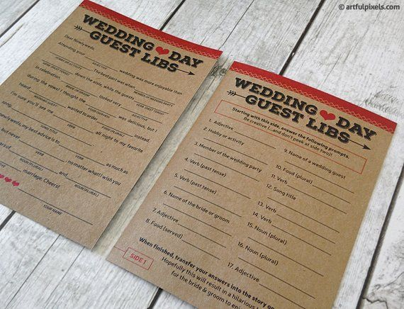 PRINTED Guest Libs - Wedding Ad Libs Game  Fun guestbook a