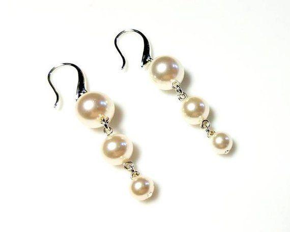 White Swarovski Pearl Earrings Hypoallergenic or Nickel Fre