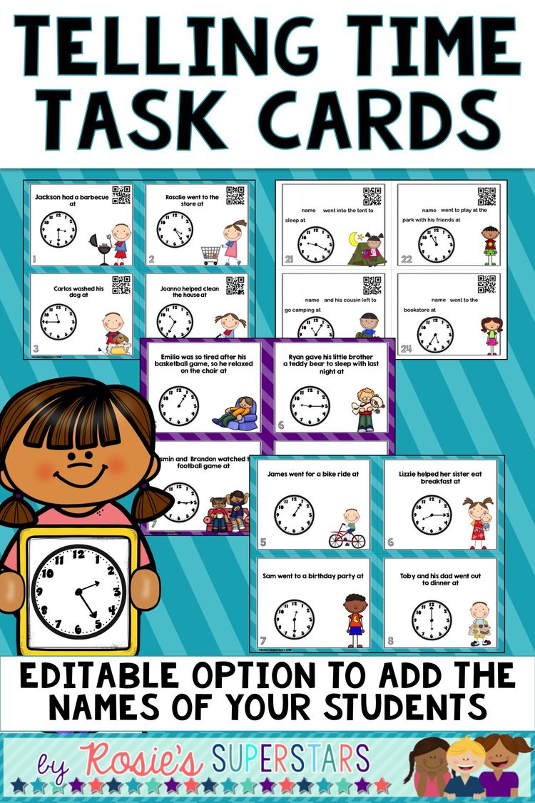 Time Task Cards to 5 Minute Interval - Ready to Print and E