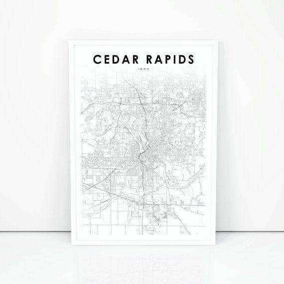 Cedar Rapids Map Print, Iowa IA USA Map Art Poster, City St