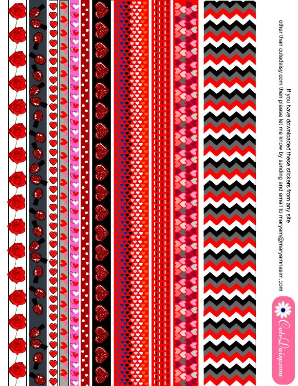 picture about Free Printable Washi Tape named No cost Printable Valentine Washi Tapes