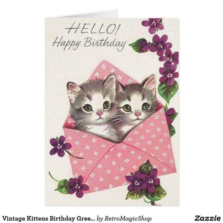 441d1c6841da Vintage Kittens Birthday Greeting Card