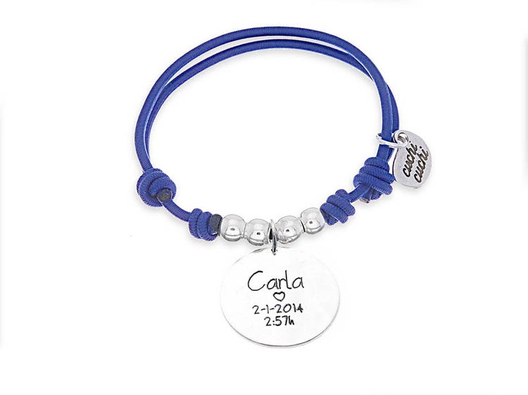 9b3cb3bc9aea Regalos para madres  Pulsera personalizada elástico azul MADRE joyería  personalizada en plata de ley. Chapas colgantes tienda online diseña joyas  para mama