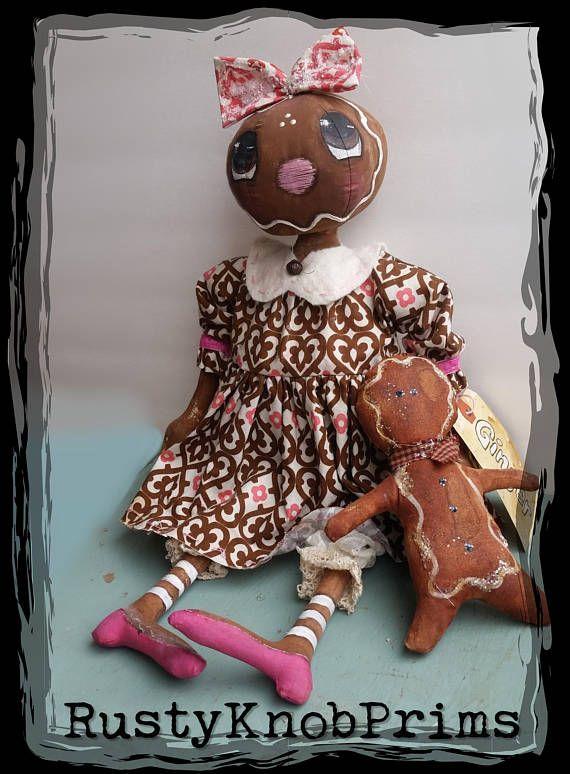 "~Primitive Gingerbread PATTERN #435 /""Little Ginger Spice/"" 12/"" DOLL PATTERN!"