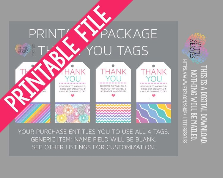 Blank LLR Printable Package Tags | Not Customized | Receive