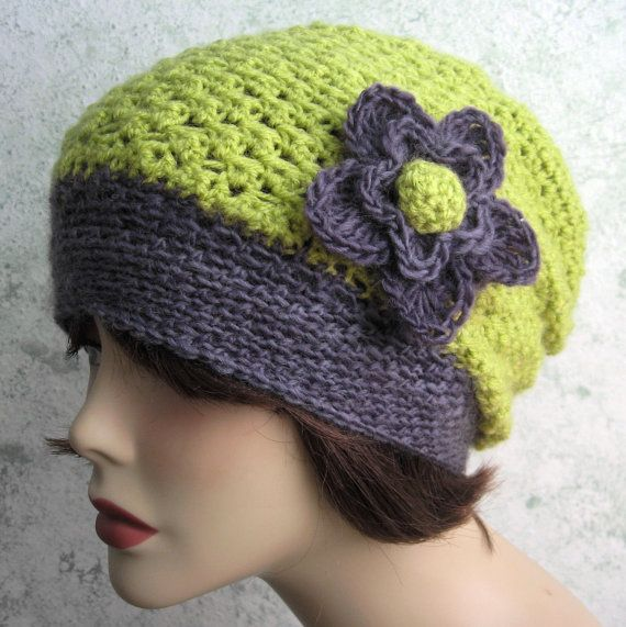 0fc35dabd04 Digital Download Womens Crochet Hat Pattern Slouchy Style With Flower Trim  May Sell Finished