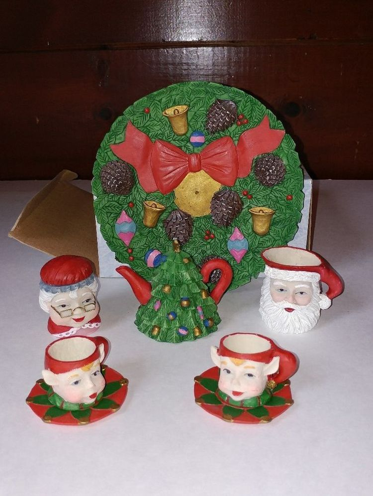 IOB 1996 Christmas Miniature Tea Set 10 Pc Santa Elves Tea