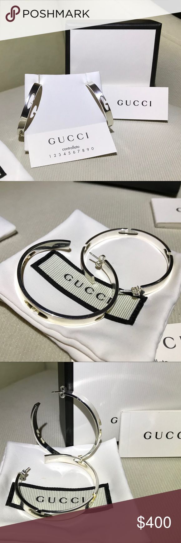 50d5374fd6ab Host Pick🎉 Gucci.925 sterling large hoop earrings NWT