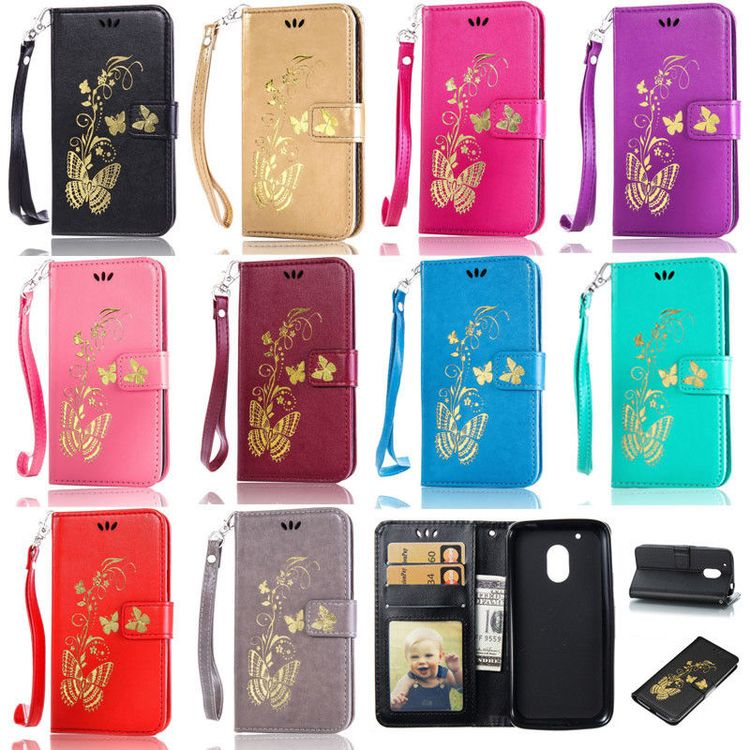 cheap for discount f5bd9 d15b5 $2.33 - Gold Butterfly Wallet Leather Flip Case Cover For M