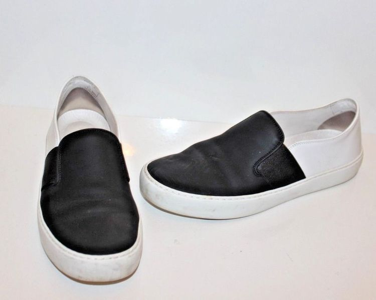 8f9fef49cc526b CHANEL Shoes Sneakers White Black Leather Low-Top Slip On Slides size 38   fashion