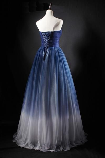 be8ac0620fee 2019 real picture navy blue tulle long a line homecoming dress, strapless  prom dress