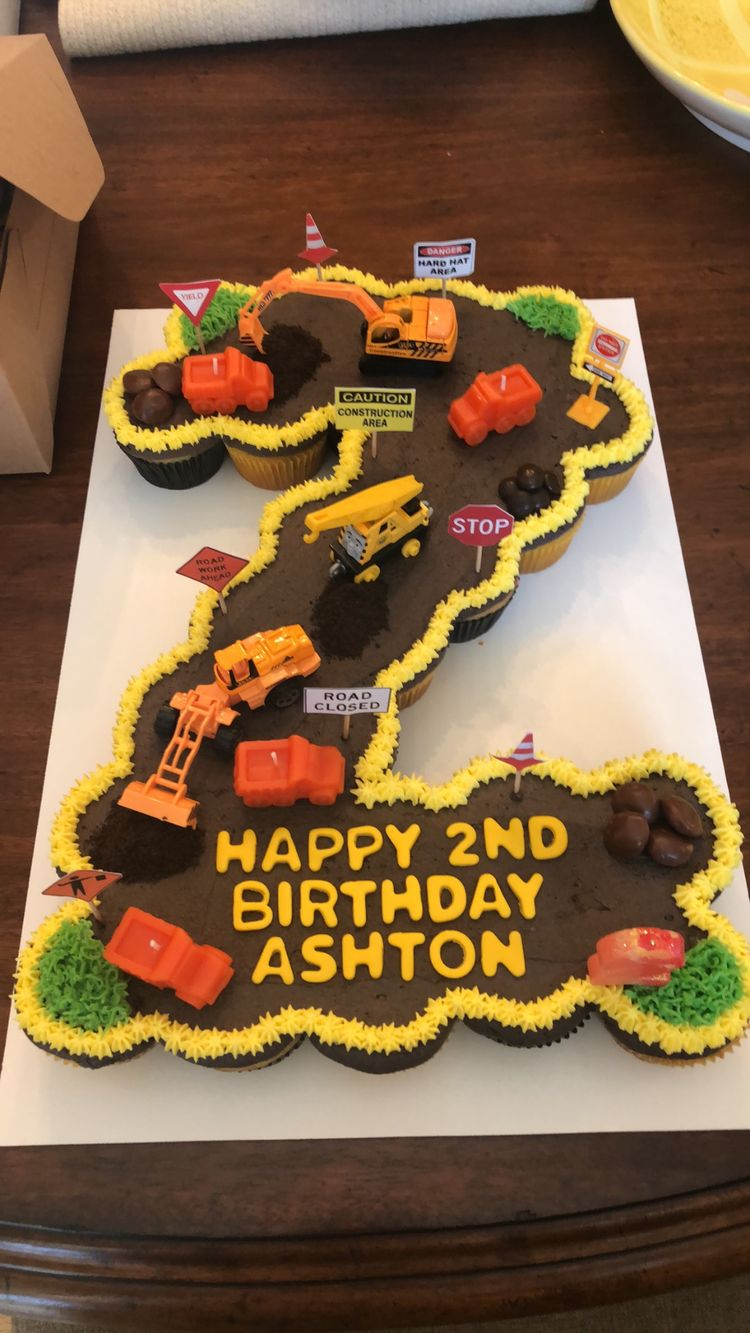 2nd Birthday Construction Theme Cake Made Out Of 24 Cupcakes
