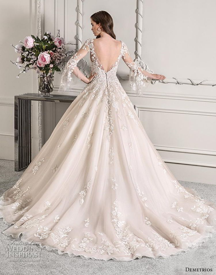 78bfa3c6626 demetrios 2019 starlight bridal long lantern sleeves v neck heavily  embellished bodice hem princess blush color