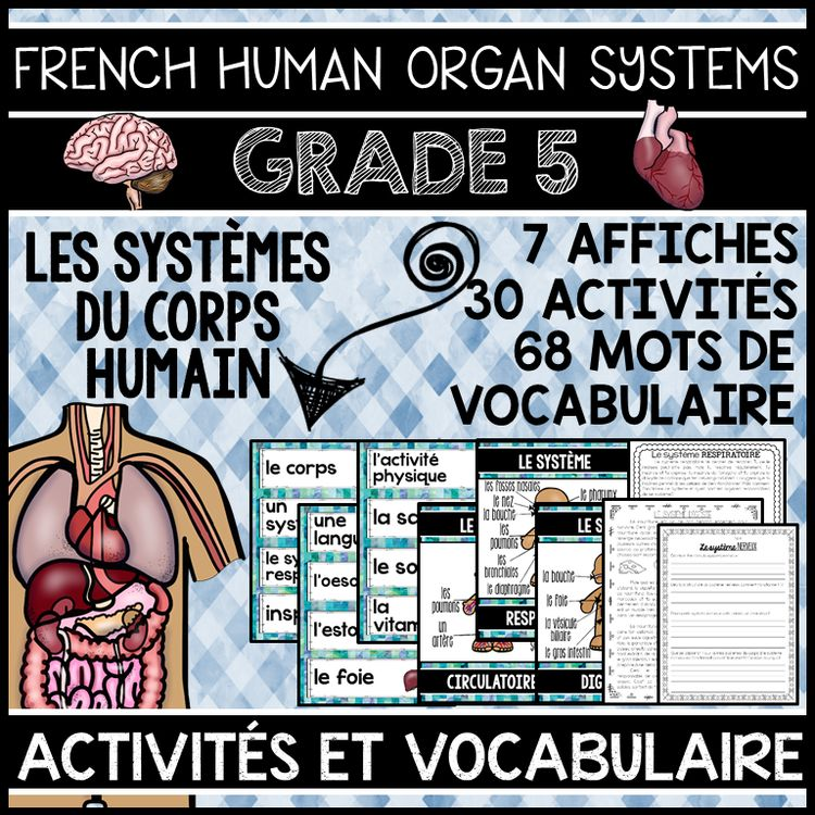 French human body organ systems unit - grade 5 science (les