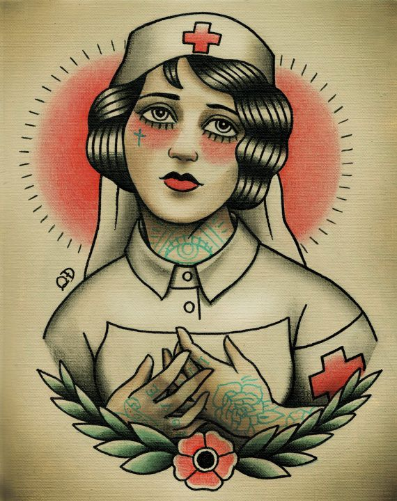 3ff070e70 Nurse Flapper Traditional Tattoo Flash by Quyen Dinh I found this artist by  complete mistake and now I cannot quit looking at her work. It is AMAZING!
