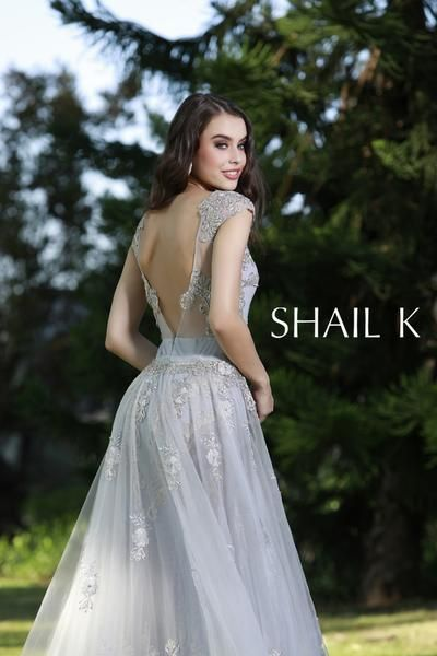 81f5a5d5a76fb Embellished Mermaid Style Silver Prom Dress With Detachable Train 33924