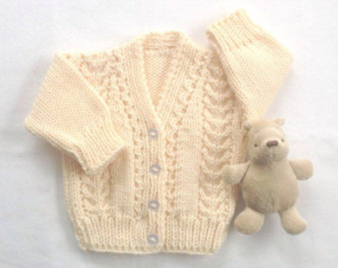 088f39897 Baby hand knit cardigan 6 to 12 months Yellow baby