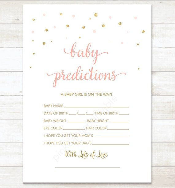Baby Girl Prediction Card, Pink Gold Confetti Baby Shower G