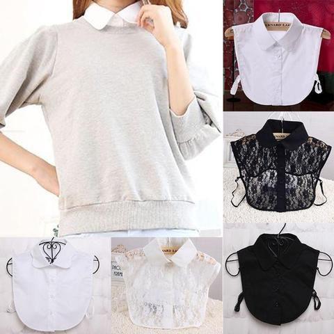 20b32d326604d9 Fashion Simple Women Pure Color Lace Detachable Lapel Choker Necklace Shirt  Fake False Collar
