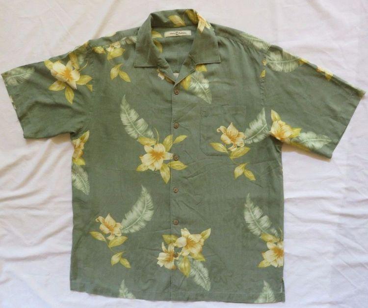 6182fbcf Tommy Bahama L Green Yellow Floral Textured Silk Hawaiian Aloha Shirt EUC